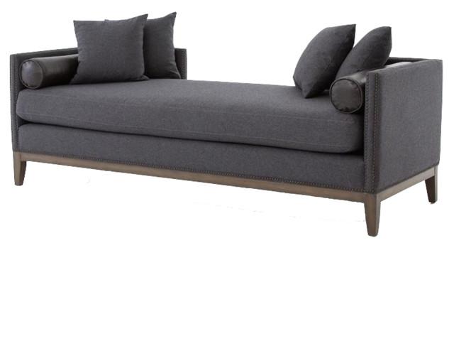kensington charcoal grey wool upholstered daybed sofa. Black Bedroom Furniture Sets. Home Design Ideas
