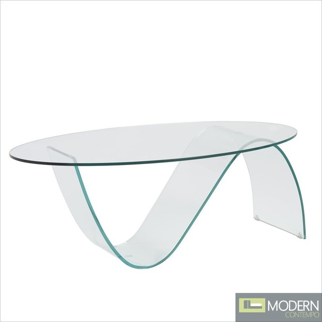 Oval Clear Glass Coffee Table