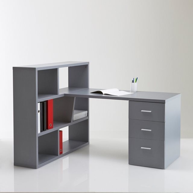 Bureau biblioth que r versible f non contemporain for Meuble bureau bibliotheque