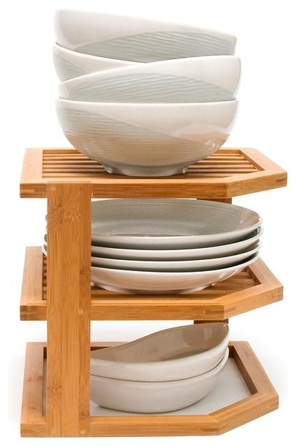 Bamboo 3-Tier Corner Shelf - Contemporary - Pantry And ...