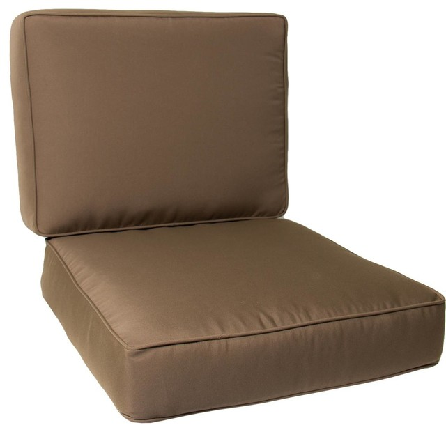 Medium Replacement Club Chair Cushion Set With Piping - Canvas Cocoa - Modern - Seat Cushions ...
