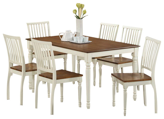 7 Piece Rectangular Dining Room Set in Antique White and Oak Farmhouse Di