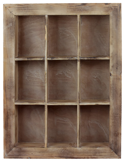 Wood Inset Shelf 9 Shelves Washed Wood Finish Farmhouse Display And Wall