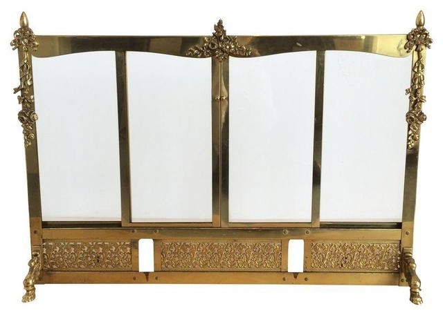 brass french fire screen with sling glass doors fireplace screens by chairish. Black Bedroom Furniture Sets. Home Design Ideas