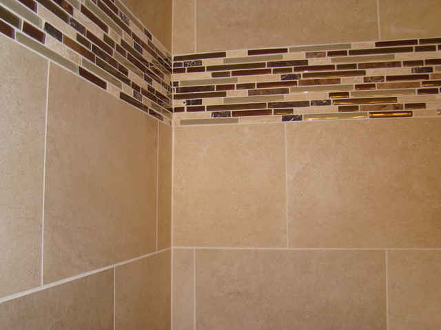 Glass Tile Border Modern Bathroom Cleveland By