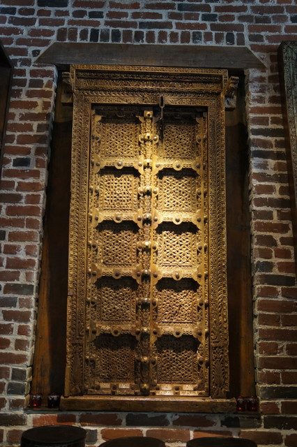Antique Hand Carved Double Door With Original Brass Amp Iron