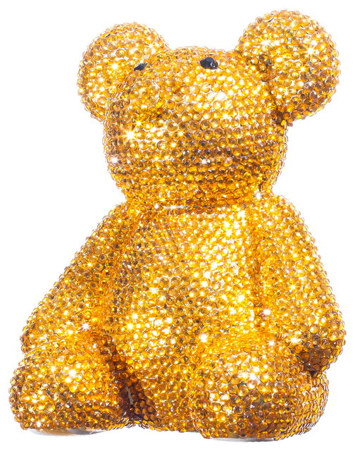 Gold encrusted rhinestone bear bank modern piggy banks by interior illusions plus - Rhinestone piggy bank ...