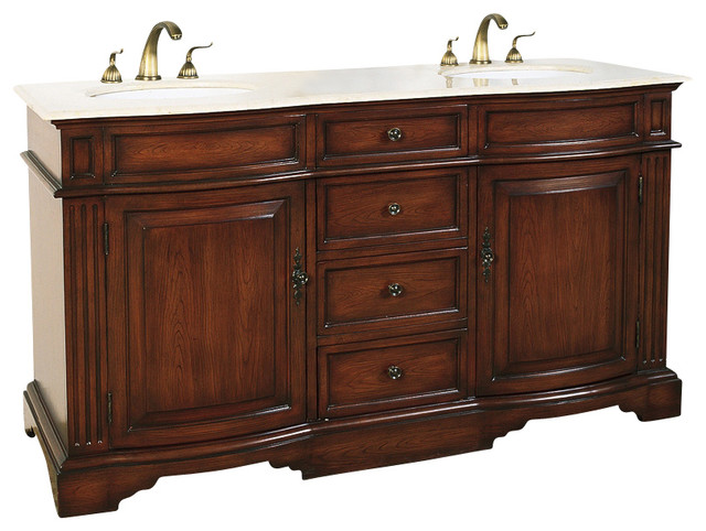 double vanity in antique mahogany finish w sinks off white top traditional bathroom. Black Bedroom Furniture Sets. Home Design Ideas