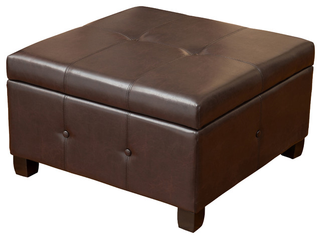 square brown leather ottoman 3
