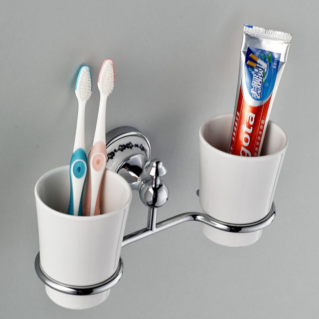 Vintage wall mounted toothbrush tumbler holder double for Bathroom accessories electric toothbrush holder