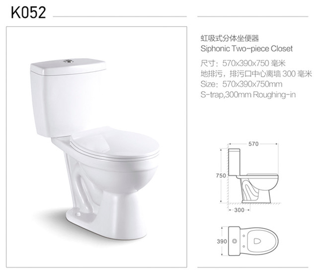 Siphonic Water Closet Two Piece Bathroom Toilet