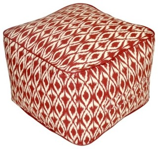 Threshold Outdoor Rectangular Pouf Footstool Red Ikat