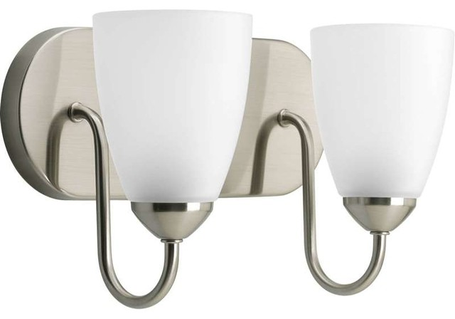 Progress Lighting P2707 09 Gather 2 Light Bathroom Light In Brushed Nickel