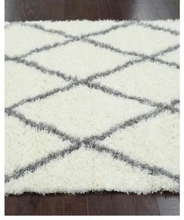 Nuloom Rug Moroccan Trellis Shag Rug Diamond Gray