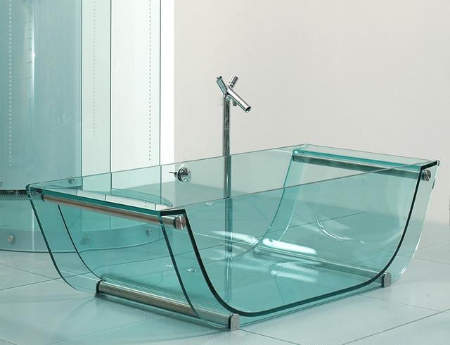 Tulip Glass Tub Contemporary Bathtubs Other Metro