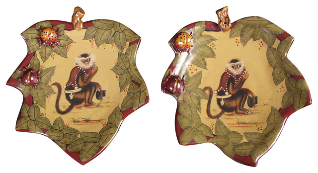 Leaf Plates With Monkey Set Of  Tropical Decorative Plates By
