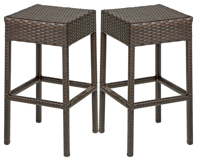 2 Classic Backless Barstools Tropical Outdoor Bar