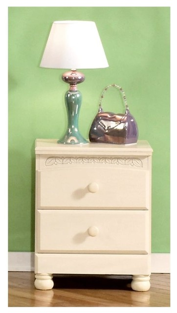 Cream Bedside Tables: Nightstand W Cream Finish & Floral Motif