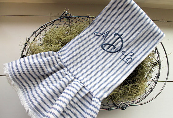Blue Ticking Tea Towel With Ruffle And Monogram By Sutton Place