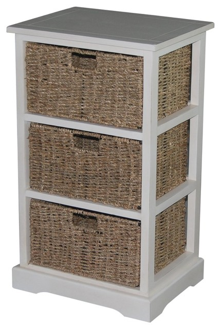Urbanest 1000480 Accent Storage Cabinet with 3 Sea Grass ...