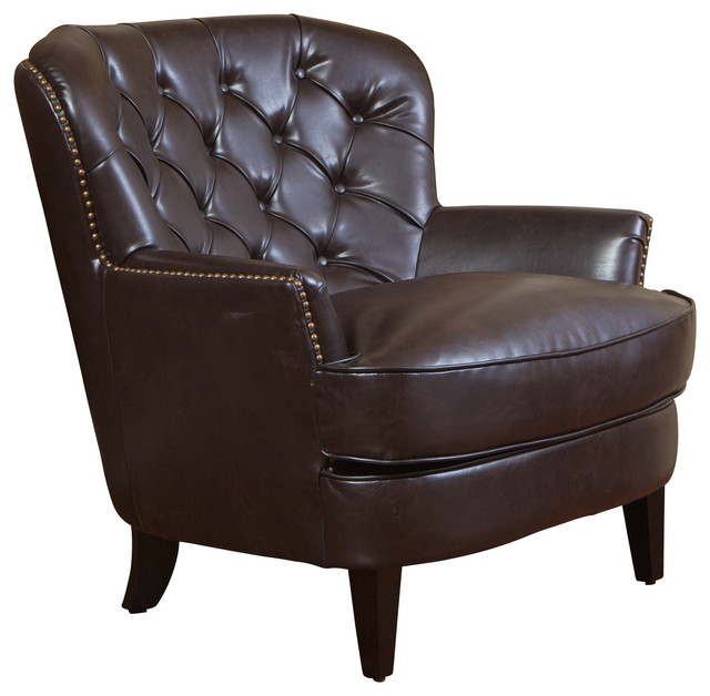 Alfred Brown Leather Arm Chair Transitional Armchairs