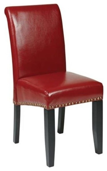 Office Star Crimson Red Eco Leather Parsons Chair Transitional Dining Cha