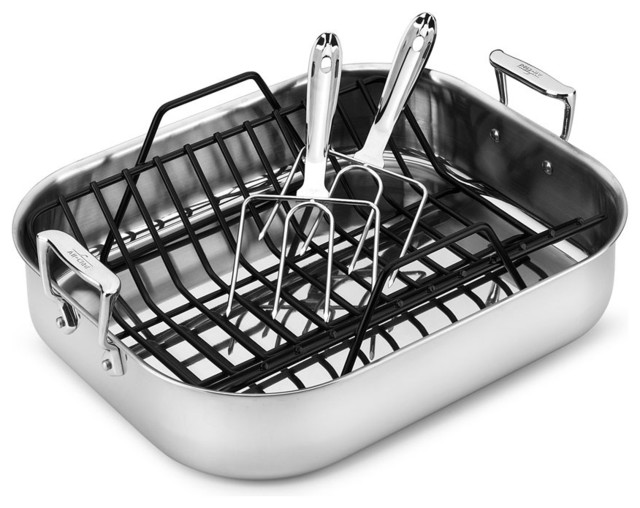 all clad stainless steel roasting pan with rack and turkey lifter traditional roasting pans. Black Bedroom Furniture Sets. Home Design Ideas