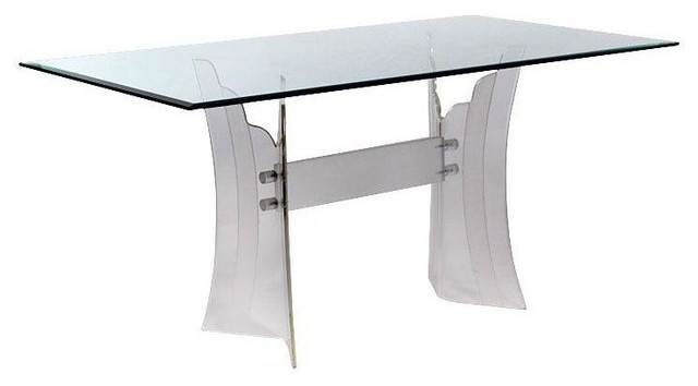 Vintage Lucite Dining Table With Scalloped Base Modern