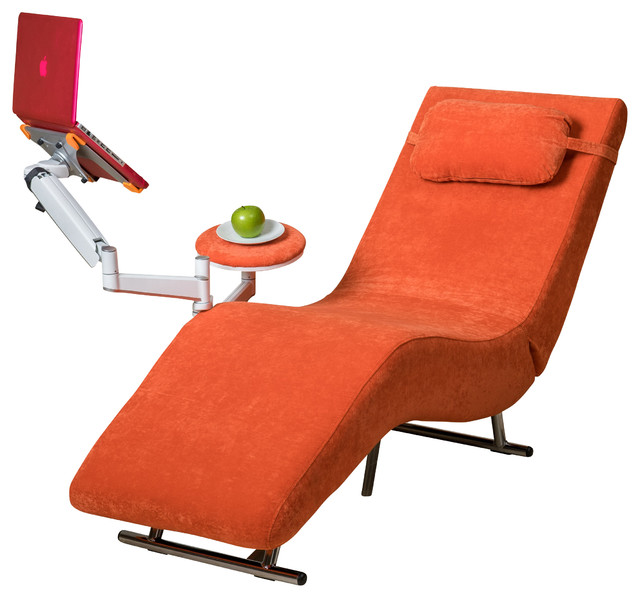 Eason velvet adjustable chaise style chair and tablet for Burnt orange chaise lounge