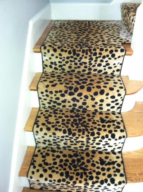 Animal print stair runner traditional boston by the for Leopard print carpet stair runner