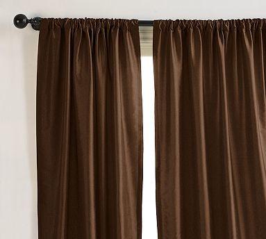 Dupioni silk drape 104 x 108 pole pocket espresso for 108 window treatments