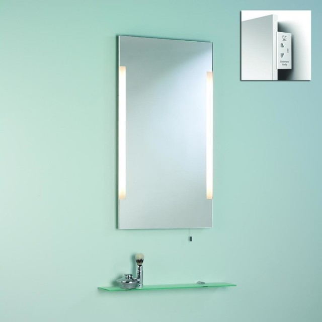 Bathroom mirror with shaver socket