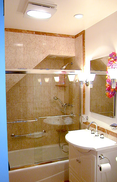 Lower Unit Shower And Bathtub Tucked Under Stair Contemporary Bathroom San Francisco
