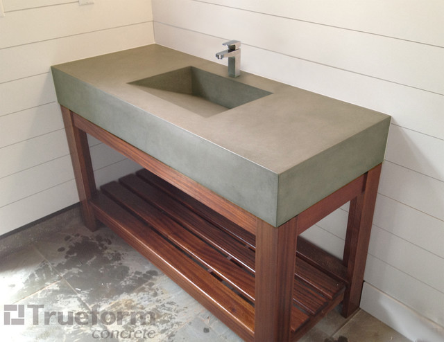 Custom Concrete Vanity Sink With Wooden Base Traditional Bathroom Sinks New York By