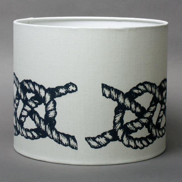indigo knot on linen lampshade beach style lamp shades. Black Bedroom Furniture Sets. Home Design Ideas