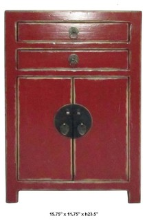 Simple Design Solid Wood Red Lacquer Night Stand / End Table