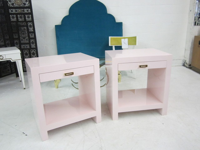 Custom Pink Lacquered Nightstands - Modern - Nightstands And Bedside Tables - dallas - by again ...