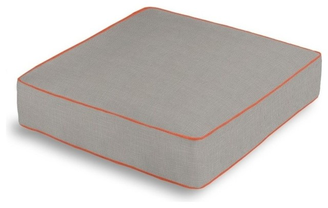 Floor Box Pillows : Linen Box Floor Pillow, Soft Gray Blend With Coral Trim - Contemporary - Pillowcases And Shams ...