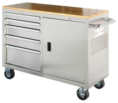 Husky Stainless Steel 5-Drawer 1-Door Mobile Work Center - Industrial - Garage And Tool Storage ...