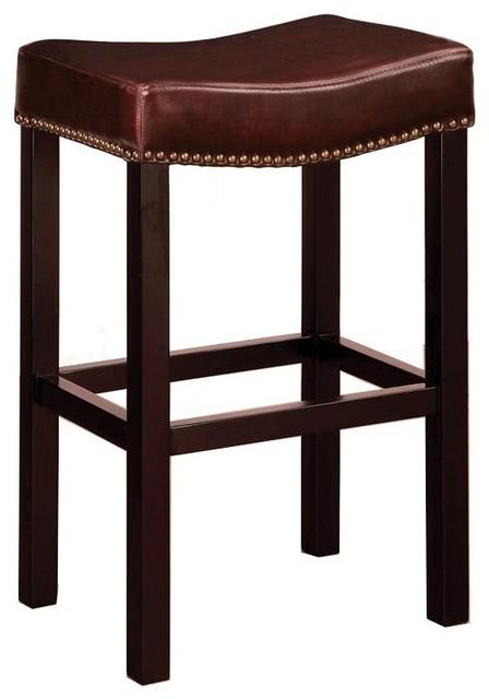 Tudor Backless Bar Stool Antique Brown Bonded Leather