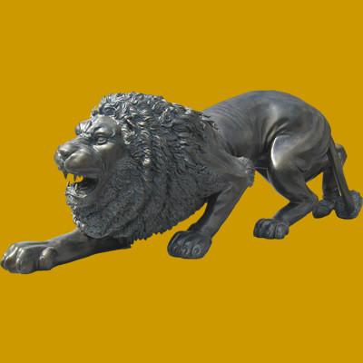 Crouching Lion Statue Bronze Home Decor