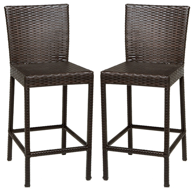 2 Classic Barstools W Back Tropical Outdoor Bar Stools And Counter Stools By Design