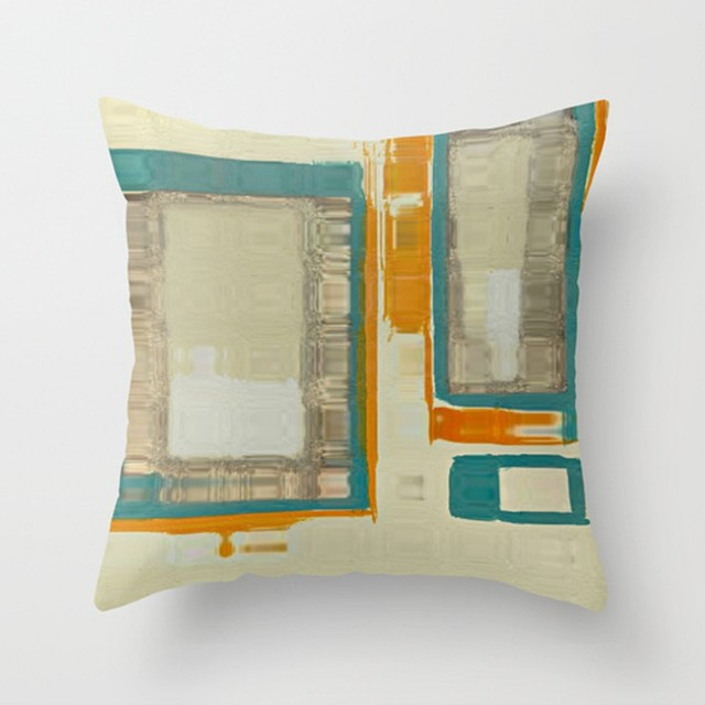 Mid Century Throw Pillow : Mid Century Modern Abstract Throw Pillow - Midcentury - Bed Pillows - other metro - by Corbin Henry