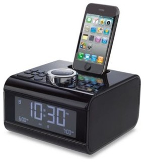brookstone idesign cube alarm clock radio for ipod and. Black Bedroom Furniture Sets. Home Design Ideas