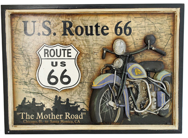 U S Route 66 The Mother Road Motorcycle Wall Plaque