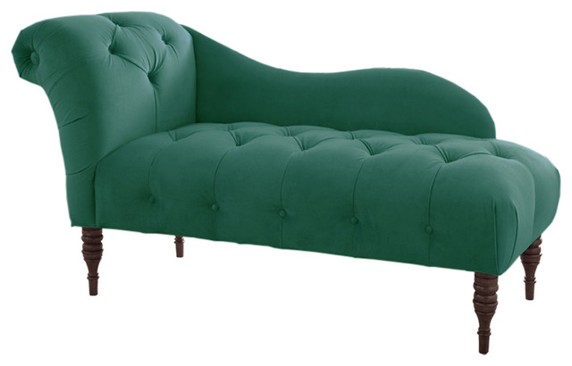 Francis tufted chaise laguna green traditional indoor for Button tufted chaise settee green