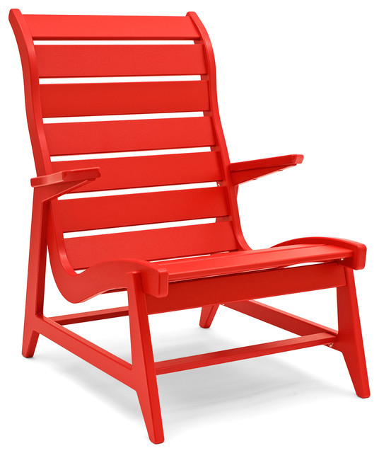 Rapson Patio Chair High Back Apple Red Contemporary Outdoor Dining Chai