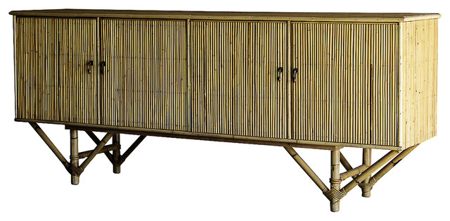 Vintage Mid Century Rattan Bamboo Four Door Buffet