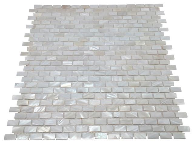 Mother Of Pearl Mini Brick Oyster White Backsplash Tile