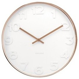 Karlsson Mr White Numbers Clock Copper Small Modern